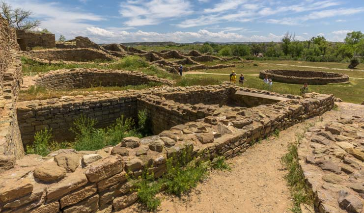 Walls and grass at Aztec Ruins National Monument New Mexico
