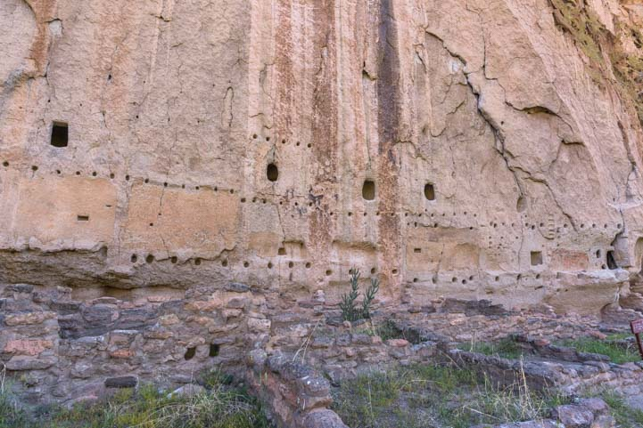 Holes in rock walls Long House Bandelier National Monument New Mexico