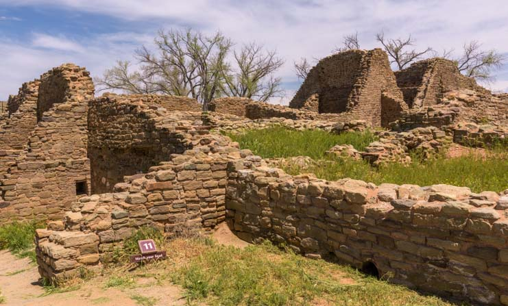 Rooms and walls at Aztec Ruins National Monument New Mexico