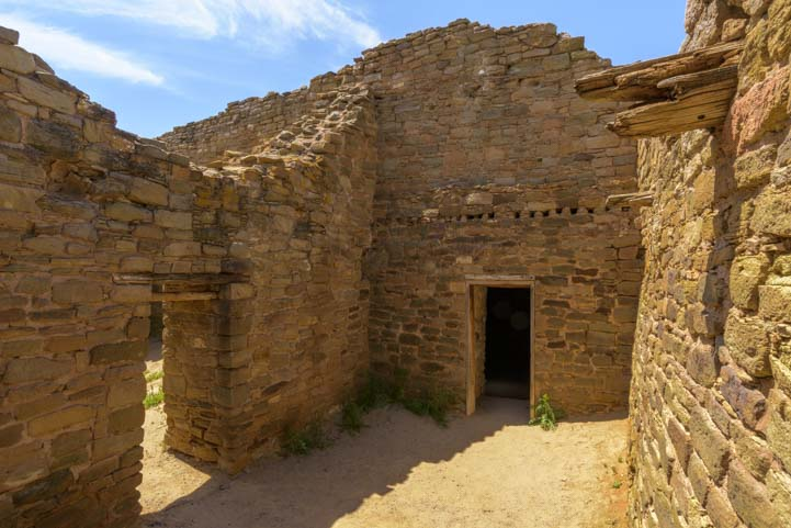 Walls with doors at Aztec Ruins National Monument New Mexico