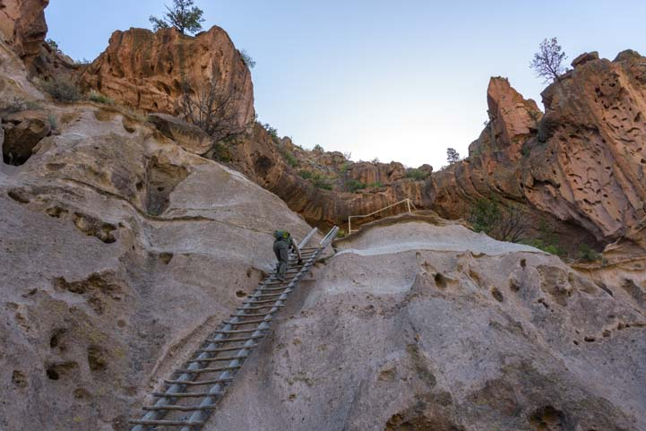 Climbing ladder to Alcove House Bandelier National Monument New Mexico