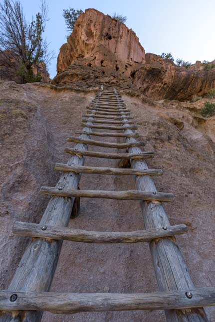 Long ladder to Alcove House Bandelier National Monument New Mexico