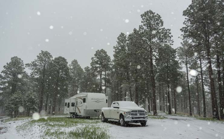 5th wheel trailer RV in snowstorm