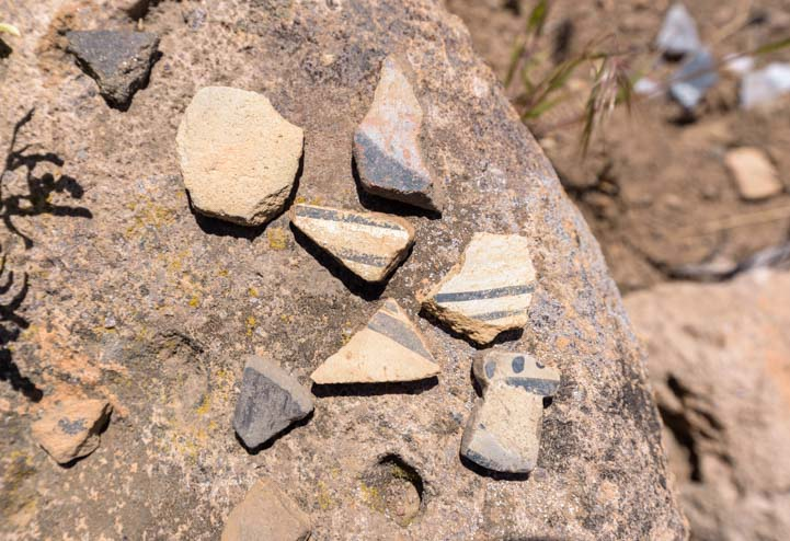 Pottery Shards Tsankawai Ruins Bandelier National Monument New Mexico