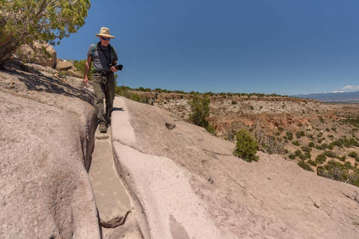 Hiking the Narrow Carved Trail Tsankawai Ruins Bandelier National Monument New Mexico
