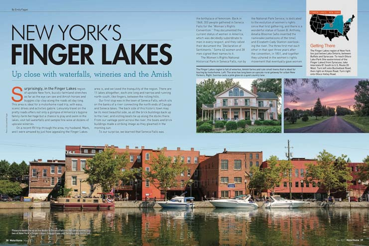 New York's Finger Lakes article by Emily and Mark Fagan in Motorhome Magazine May 2017