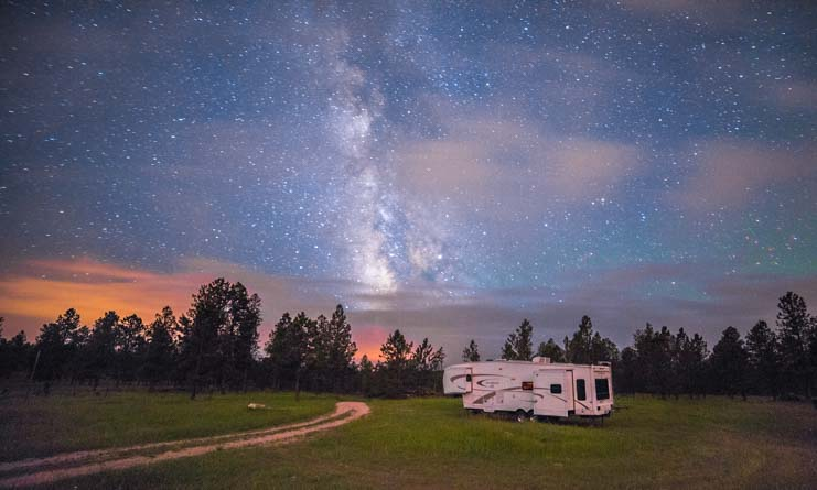 RV under the Milky Way in Black Hills South Dakota