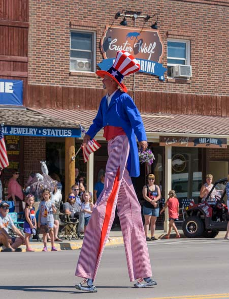 Uncle Sam on stilts 4th of July Custer South Dakota