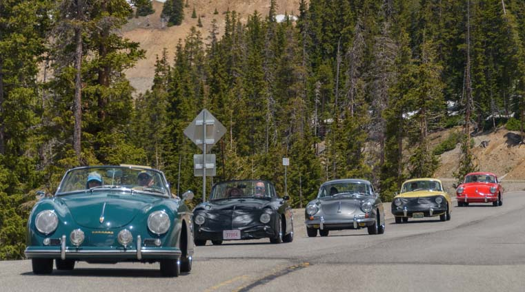 Porsche roadsters in the Rocky Mountain Porsche 356 Rally in Colorado