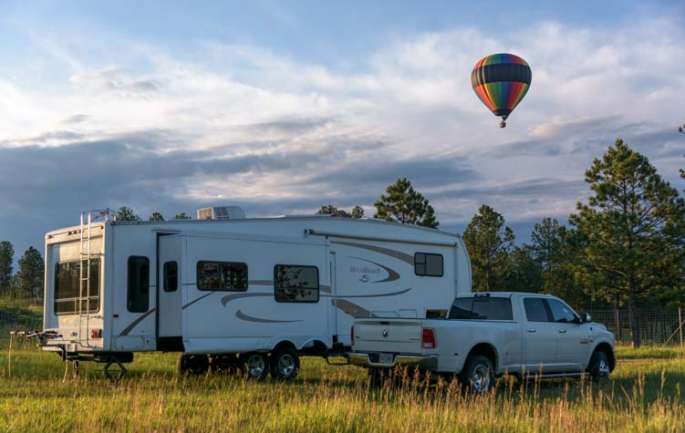 Balloon over RV boondocking in Black Hills National Forest South Dakota