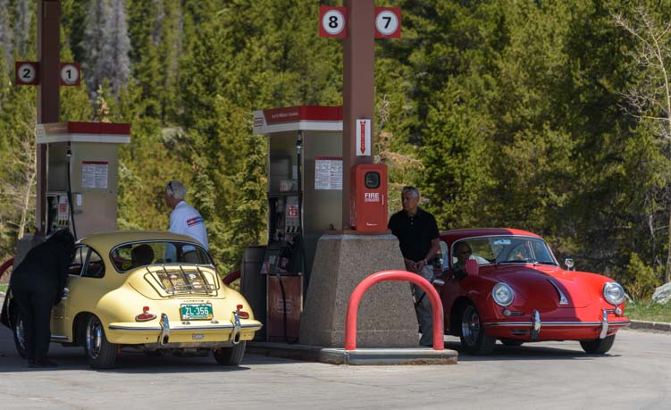 Gas stop on Colorado Porsche 356 rally