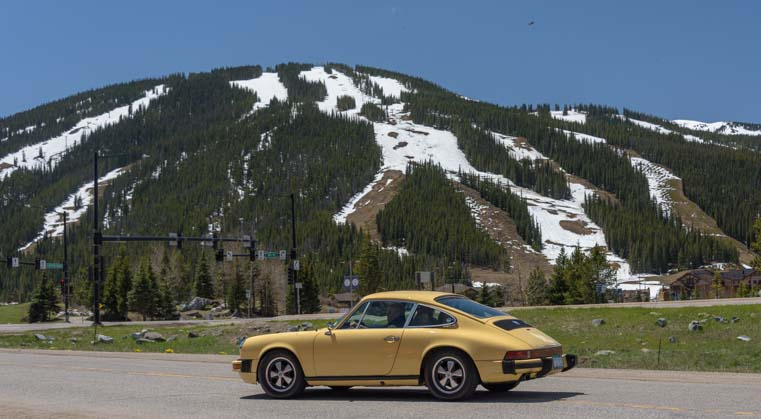 Yellow Porsche Rocky Mountain 356 Porsche rally in Colorado