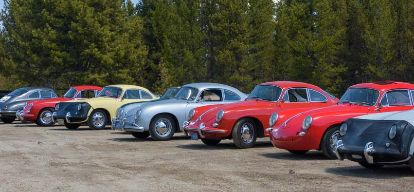Pretty Porsche 356 roadsters lined up in Colorado