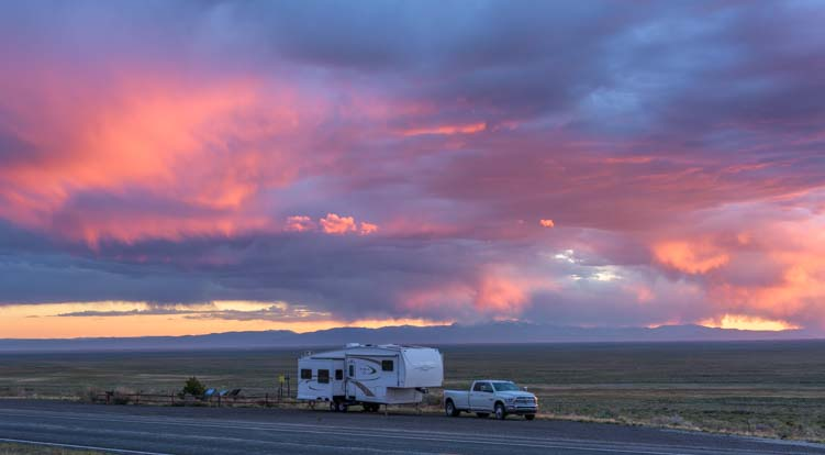 RV camping at sunset in Colorado