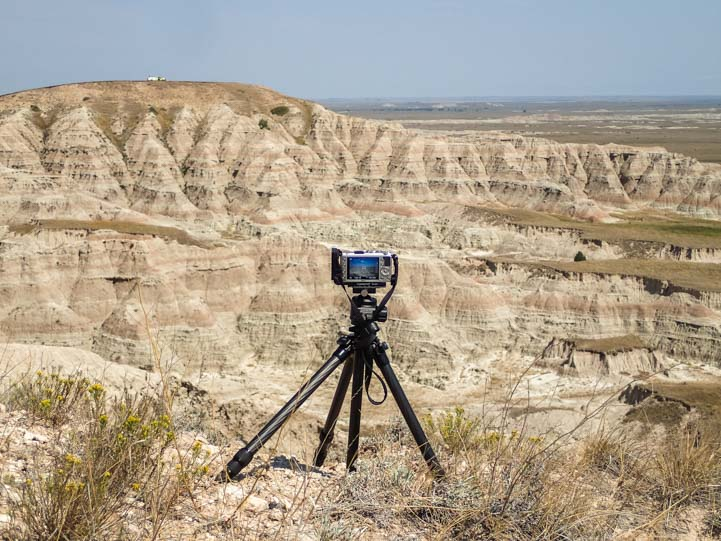 Timelaps video setup for Solar eclipse 2017 Badlands National Park South Dakota August 21 2017