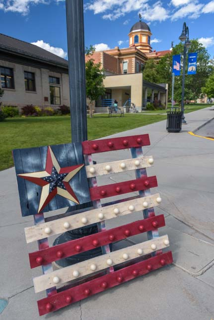 American flag made from a wooden palette Newcastle Wyoming_