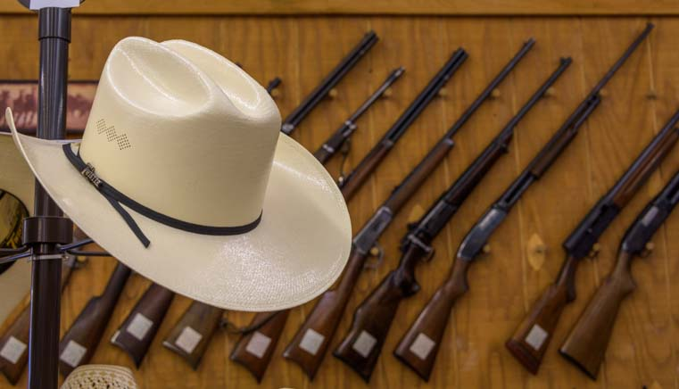 Cowboy hat and rifles Buffalo Wyoming