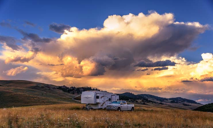 RV boondocking in rural Wyoming mountains