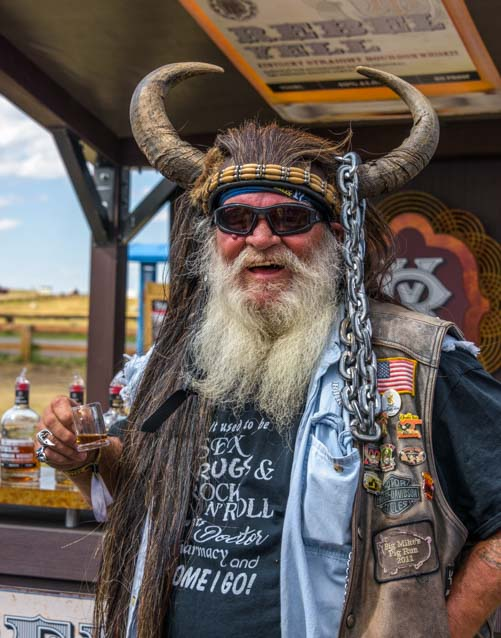 Long beard horns and leather vest Sturgis Motorcycle Rally South Dakota