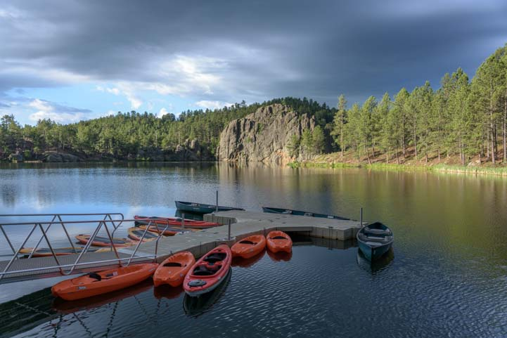 Kayaks at a lake in South Dakota