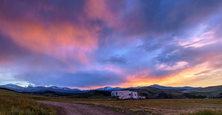 Sunset over an RV Bighorn National Forest Wyoming