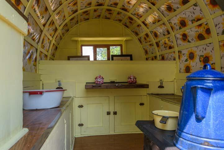 Inside a Basque wagon for camping Buffalo Wyoming