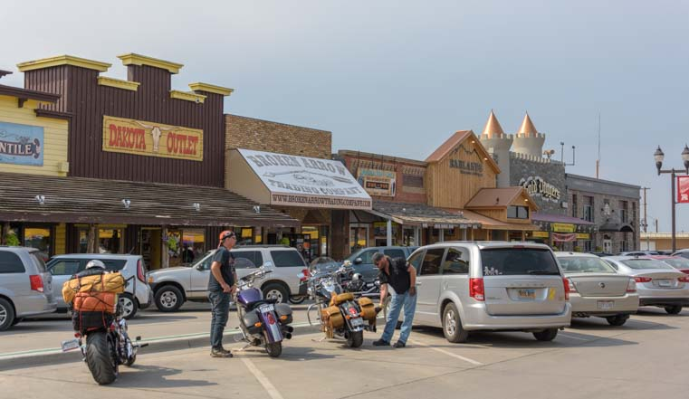 Downtown Wall South Dakota in front of Wall Drug