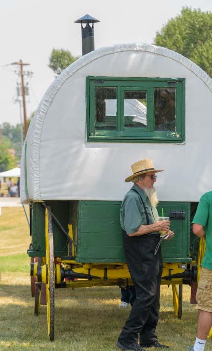 Amish man and Basque wagon Buffalo Wyoming Basque festival