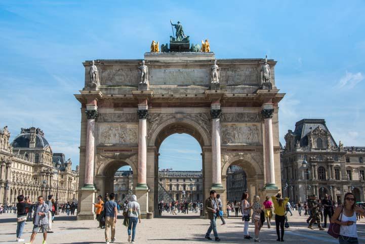 Triumphal arch Louvre Museum entrance Paris