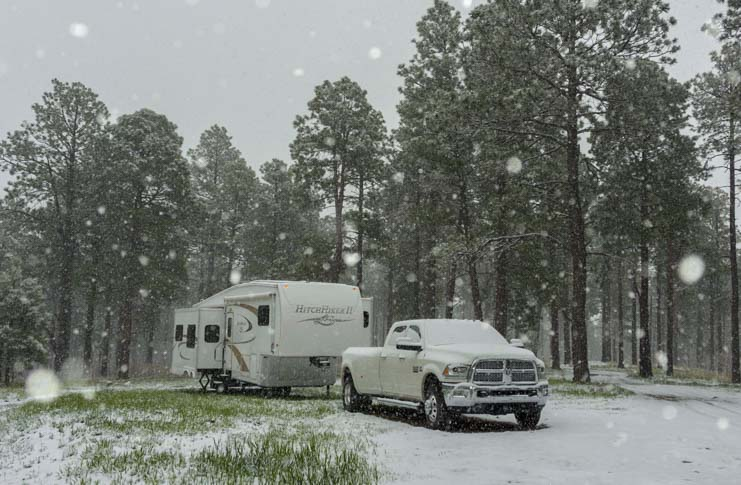 Fifth wheel trailer RV in snow blizzard-min