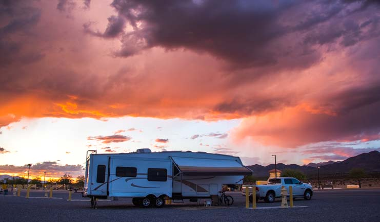 RV at Clark County Shooting Range Las Vegas at sunset