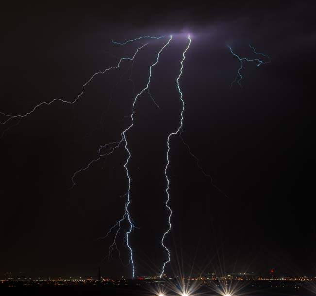 Twin Lightning bolts in Las Vegas Nevada