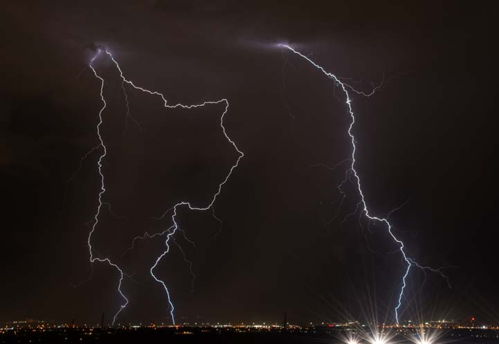 Lightning bolts over Las Vegas Nevada