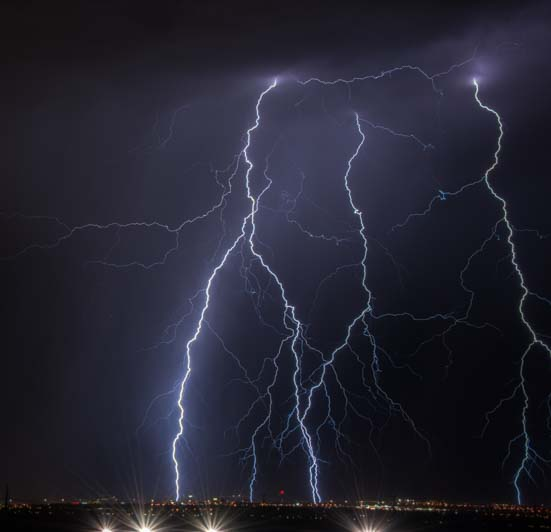 Lightning storm over city lights in Las Vegas Nevada