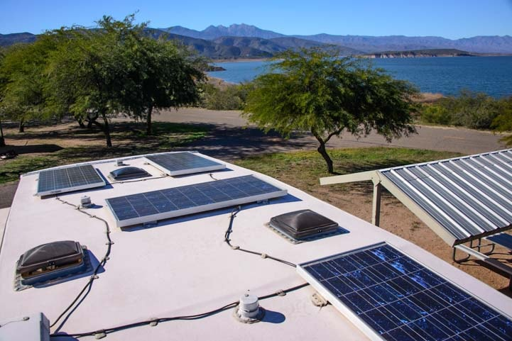 Solar panels on a fifth wheel roof-min