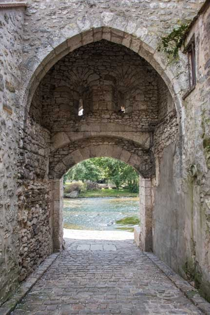 Medieval stone arch Moret sur Loing France-min