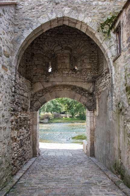 Medieval stone arch Moret sur Loing France-min