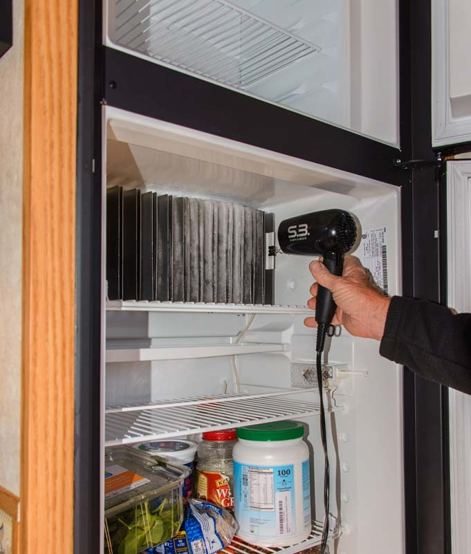 Defrosting an RV refrigerator-min