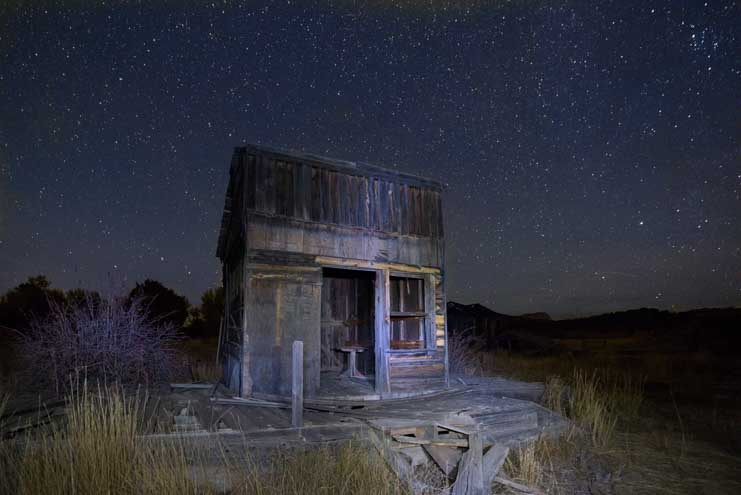 Ghost town at night Johnson Canyon movie set Kanab Utah-min
