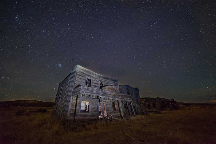Stars over ghost town Johnson Canyon movie set Kanab Utah-min