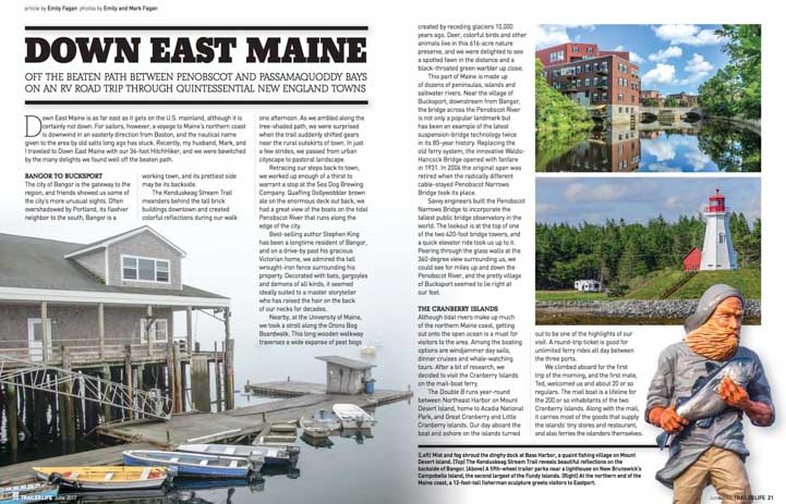 Downeast Maine RV Trip Trailer Life Magazine June 2017-min