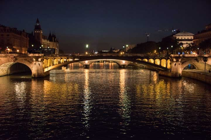The Seine River in Paris France at Night-min