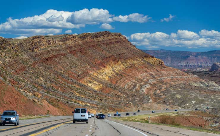Driving through the red rocks near Kanab Utah-min