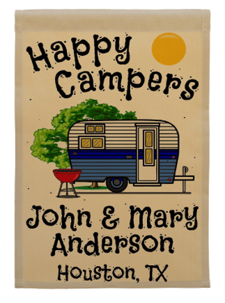 Personalized Happy Camper Flag-min