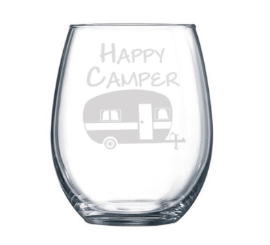 Happy Camper stemless wine glass-min