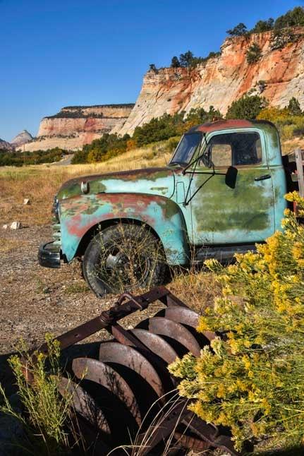 Old truck Zion National Park east entrance Utah RV trip-min