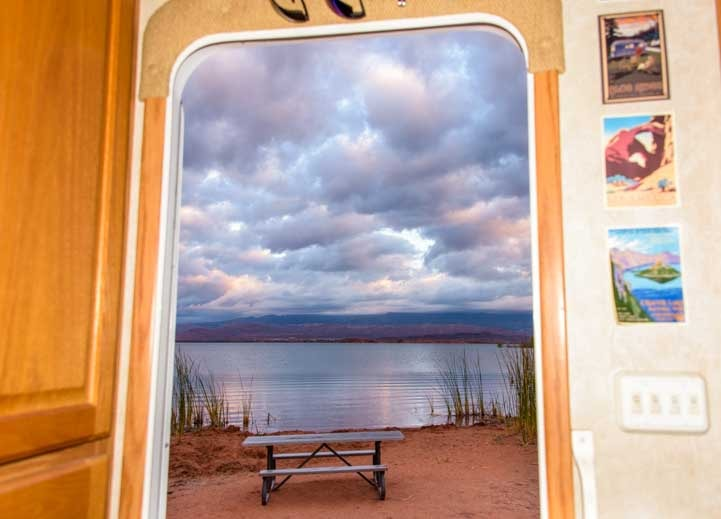 View out RV door Sand Hollow State Park Utah-min