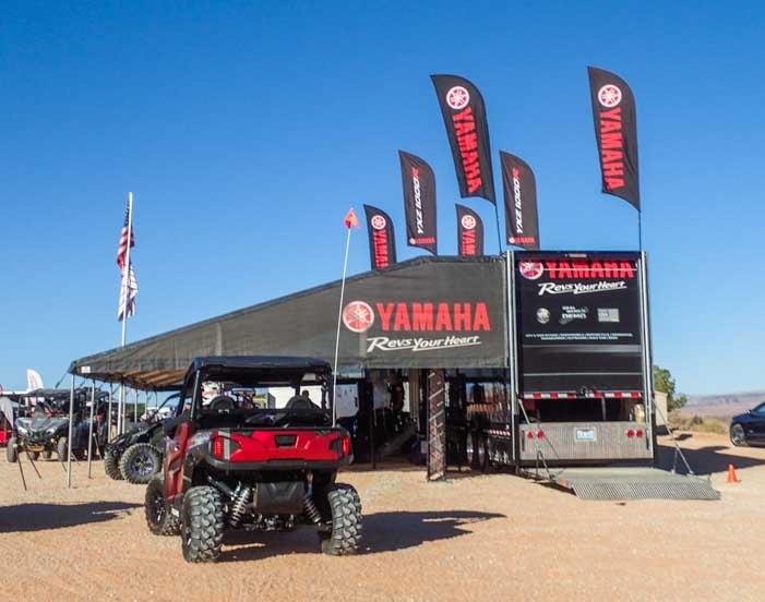 Polaris General and Yamaha sales booth at Sand Hollow Jamboree in Utah-min