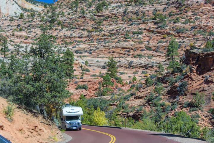 RV on scenic Route 9 Zion National Park Utah-min