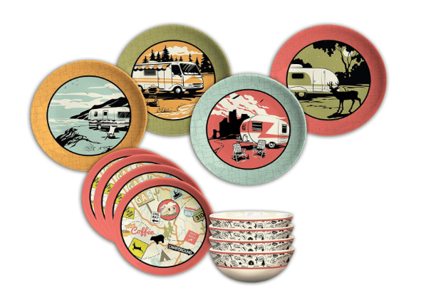 Camping dishes with travel trailer RV designs-min